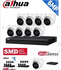 Dahua 8 Channel Security Kit: 8MP (Ultra HD) NVR, 8 X 6MP Fixed Turrets, WizSense + Starlight
