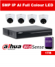 4 x 5MP Dahua Full Colour IP Camera with 4 Channel NVR and 1TB HDD