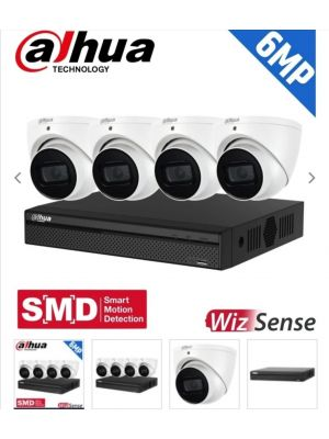 Dahua 4 Channel Security Kit: 8MP (Ultra HD) NVR, 4 X 6MP Fixed Turrets, WizSense + Starlight