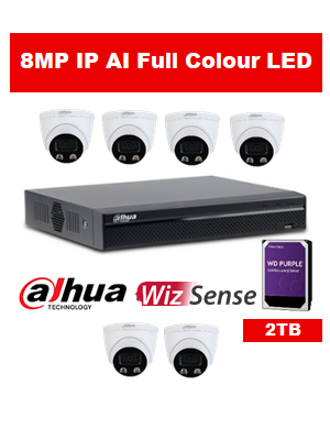 6 x 8MP Dahua Full Colour IP Camera with 8 Channel NVR and 2TB HDD