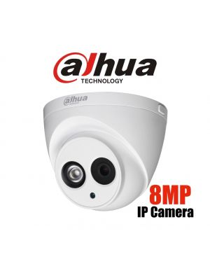 Dahua 8MP 4K IP Turret Fixed 4mm lens, Built-in Mic, WDR,IR 50m,IP67,POE (S)