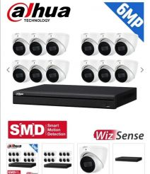 Dahua 16 Channel Security Kit: 8MP (Ultra HD) NVR, 12 X 6MP Fixed Turrets, WizSense + Starlight