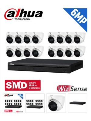 Dahua 16 Channel Security Kit: 8MP (Ultra HD) NVR, 16 X 6MP Fixed Turrets, WizSense + Starlight