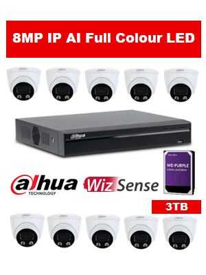 10 x 8MP Dahua Full Colour IP Camera with 16 Channel NVR and 3TB HDD