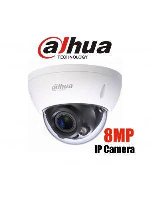 Dahua 8MP (4K) Starlight IP Vandal Dome Motorised,ICR,WDR,IR 40m,IP67,IK10,POE (S)
